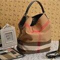 Sacos de Lona Xadrez saco do Mensageiro das mulheres Sacos de Marcas Famosas de Moda Bolsas Das Senhoras Saco de Ombro Do Vintage Balde Saco Crossbody