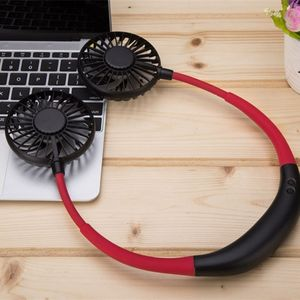 Image 2 - 2000MA el ücretsiz spor çift Fan taşınabilir boyun bandı asılı USB pil şarj edilebilir Mini soğutucu Fan ışıkları ve parça 360 Ad