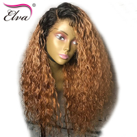 Elva Hair 150% Density Lace Front Human Hair Wigs For Black Women Brazilian Virgin Hair 13x6 Ombre Curly Wigs With Pre Plucked