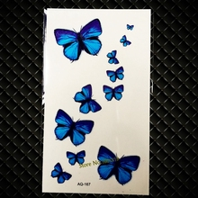 Sexy Products Blue Butterfly Temporary Tattoo Sticker Flash Body Art Fake Tattoo Waterproof Arm Shoulder Tattoo Stickers GAQ-167