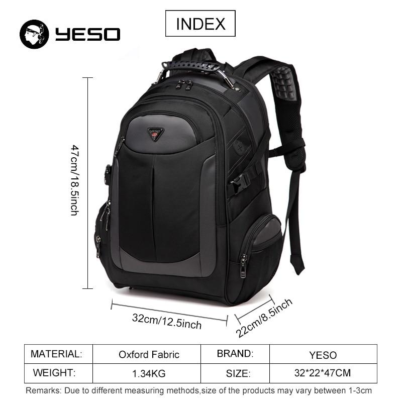 YESO Brand Laptop Backpack Men's Travel Bags 2018 Multifunction Rucksack Waterproof Oxford Black Computer Backpacks For Teenager 1