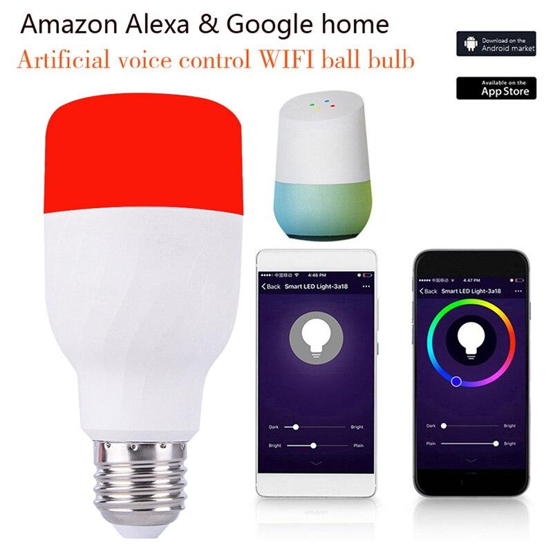 Smart Wifi Dimmable LED Bulbs Works RGB Night Light B22/E27 Screw for Amazon Alexa&Google Home LB88