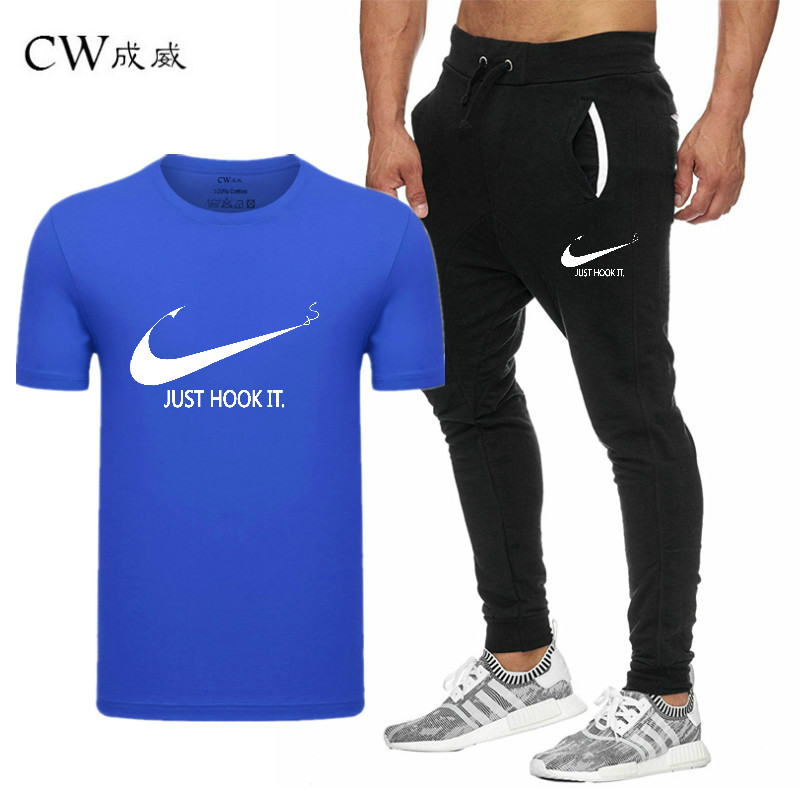 HTB1uI1iVzDpK1RjSZFrq6y78VXas 2019 Quality Men T Shirt Sets+pants men Brand clothing Two piece suit tracksuit Fashion Casual Tshirts Gyms Workout Fitness Sets