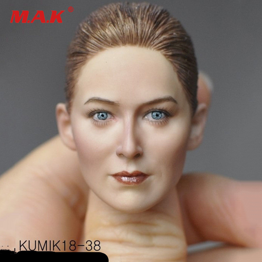 Kumik18 31 16 Scale Female Head Sculpt Black Hair Carving 1 6 Model Toys For 12