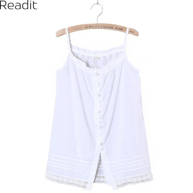 2017 Women Summer Tank Lace Strap Top New Japanese Wild White Openwork Lace Tape White Tank Top B1938