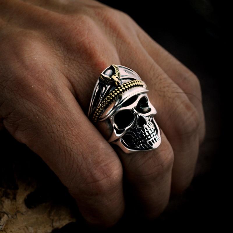 FNJ 925 argent squelette anneau nouveau Punk crâne Original S925 Sterling argent anneaux pour hommes bijoux taille réglable USA 10 12.5-in Anneaux from Bijoux et Accessoires    2