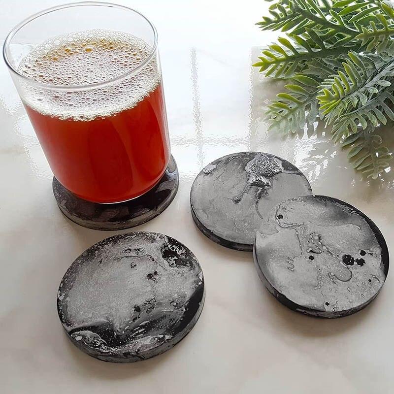 Concrete Coaster Mold Silicone Tea Cup Tray Mold Cement Round Holder Mold Plaster Coaster Mold