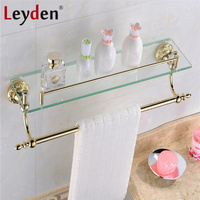 Leyden Luxury Brass Gold Single Tier Toilet Glass Bathroom Shelf with Towel Rack Bar Flower Carving Gold Base Bathroom Accessory