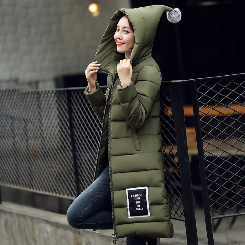 Stand Collar Hooded Womens Down Coat 2016 New Winter Cotton Down Jacket Women Long Coat Parkas