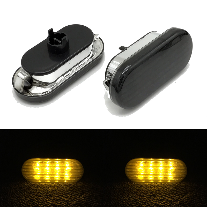 New 2 PCS Amber Light LED Side Marker Lamp Turn Signal Light Smoked Lens For VW Passat B5 Jetta Golf Bora MK4 1999 2000 - 2004 Указатель поворота