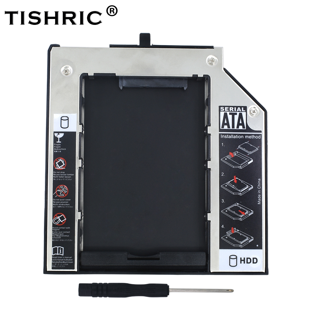 TISHRIC 2nd 2.5 HDD SSD Enclosure 9.5mm SATA Optibay Hard Drive Caddy For Lenovo ThinkPad T420s T430s T500 W500 T400 T410s Case