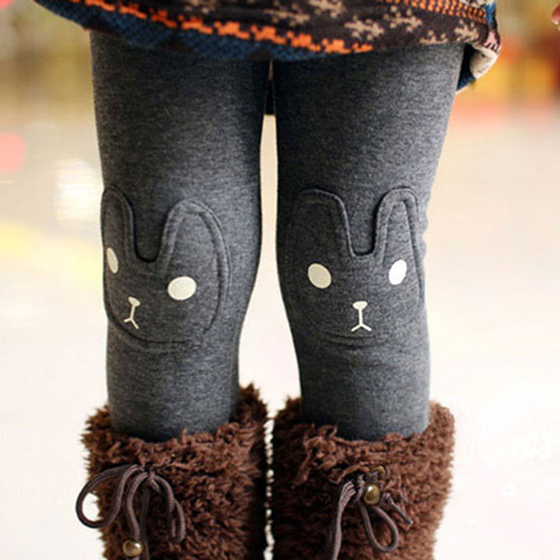 Cute Rabbit Printed Girls Child Pants Winter Autumn Bottoms Kids Baby Toddler Inside Warm Fleece Leggings Trousers