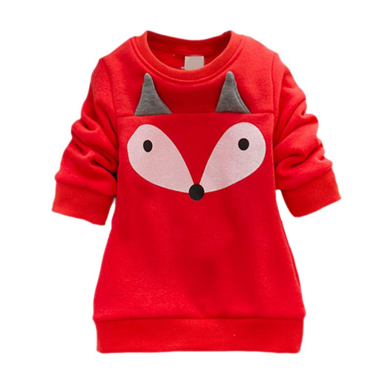 New Winter Cute Boys and Girls Thick Velvet Long-sleeved Sweater Suit Small Cartoon Fox Piece