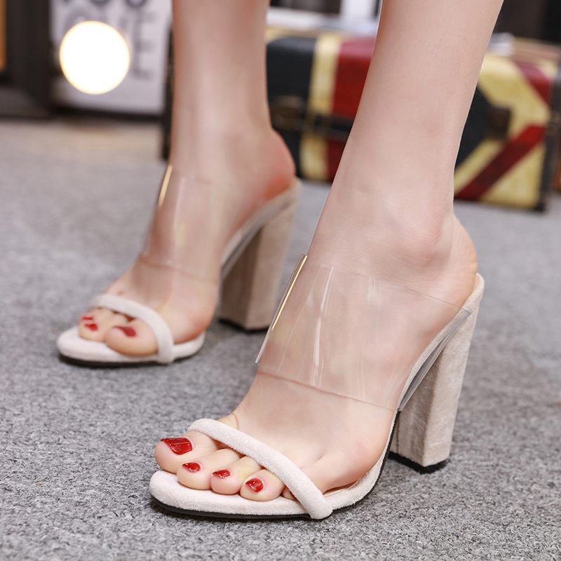 Fashion Super High Heels Slippers 2019 Thick With Women 39 s Shoes Transparent Solid Color Stitching Wear Leisure Women 39 s Sandals in High Heels from Shoes