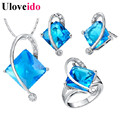 50% off 5 Colors Bijoux Femme Africane Wedding Blue Cristal Jewelry Gift Sets for Women Earrings Necklace with Large Stones T295