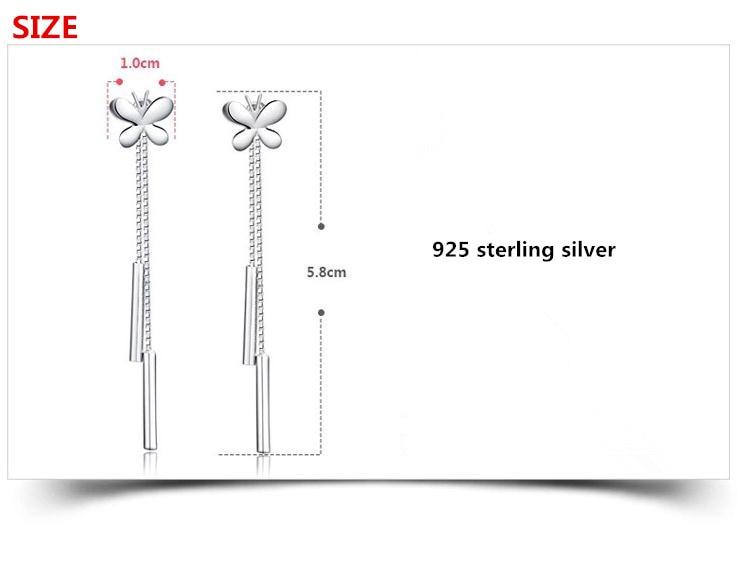 100% 925 sterling silver fashion butterfly ladies tassels stud earrings jewelry women Anti allergy Christmas gift drop shipping