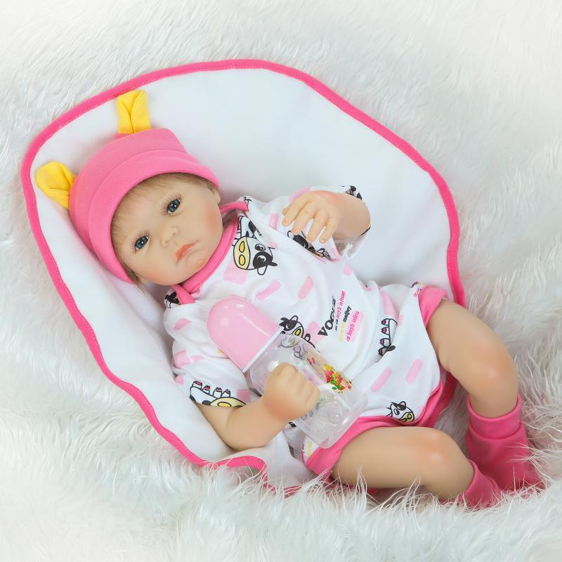 New Arrival Pink Silicone Vinyl Reborn Baby Girls with Blue Eyes & Pink Lovely Doll Clothes 55cm Soft Toys Girls Dolls baby acrylic pink lollipop lovely