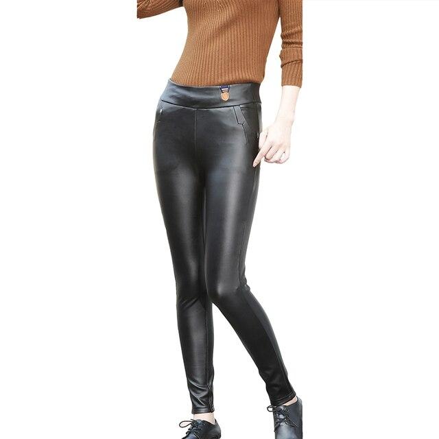Fashion Winter Leggings Faux Leather Leggings Women High Waist Sexy Pants Leggin PU Pants Fleece Lady Warm Pants L\2XL\3XL