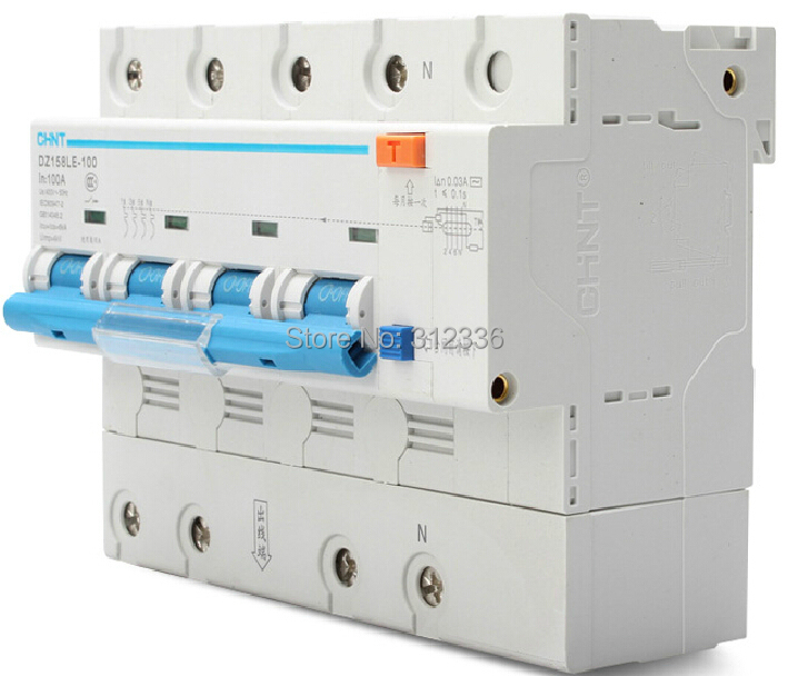 Free Shipping 2 years Warranty  DZ158LE 4P 100A  4 poles Big Power House Use earth leakage circuit breaker  residual current new 31624 circuit breaker compact ns250n tmd 100a 3 poles 2d