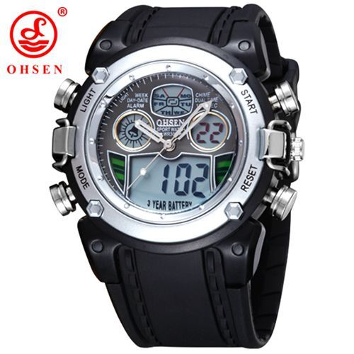 db5b95997a0 New OHSEN Waterproof Diver Military Wristwatch Mens Dual Time Sport Watch  Alarm Date Week Chronograph Relogio Feminino Masculino
