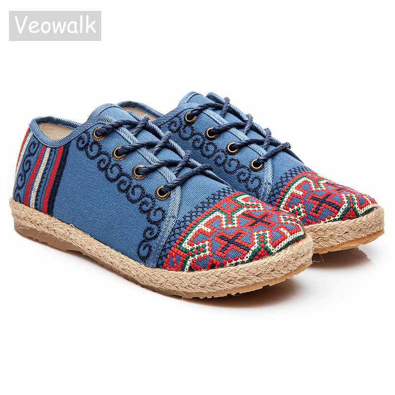 Veowalk Harajuku Nakış Kadın Keten Pamuk Düz Sneakers Lace Up Düşük Üst El Yapımı Bayanlar Casual kanvas ayakkabılar Espadrilles