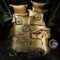 Роскошный комплект постельного белья королевского размера  серебристый  золотой  красный  для свадьбы  60S  из сатина  египетского хлопка  под...