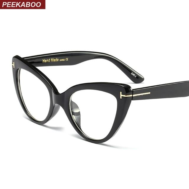 peekaboo retro cat eye glasses frames for women designer 2018 sexy black eyeglasses frame women optical - Womens Designer Eyeglass Frames
