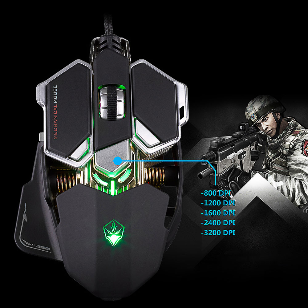 Professional 9 Buttons 4 Colors Light Emitting USB Wired Gamer Macros Mouse Optical Mice 800-4000 Adjustable DPI for overwatch