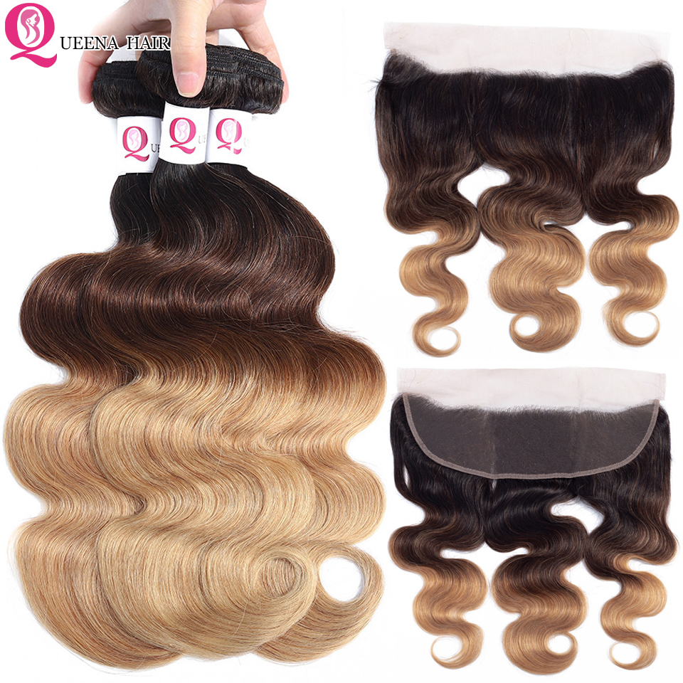 Remy Ombre Body Wave Hair Bundles With Frontal Closure 1B/4/27 Malaysian Human Hair Wet And Wavy Bundles With Ear To Ear Closure