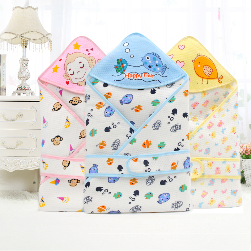 Newborn Blanket & Swaddling Baby Blanket Covered With Ecological Cotton Embroidered Hutch Neonate Thin Sleeping Bag 80*80cm