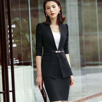 Business formal women white skirt suit summer fashion elegant half sleeve blazer and skirt office Interview plus size Work wear 1