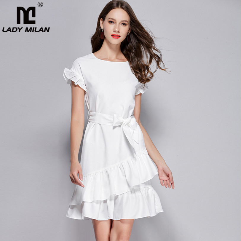 New Arrival Womens O Neck Short Sleeves Ruffles Sash Bow Belt High Street Fashion Causal Short Summer Dresses