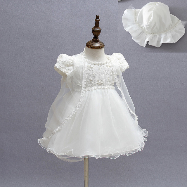 2016 Ivory Baby Girl Christening Gowns 1Year Birthday Newborn Lace Party Dress Baptism Gowns for Girls