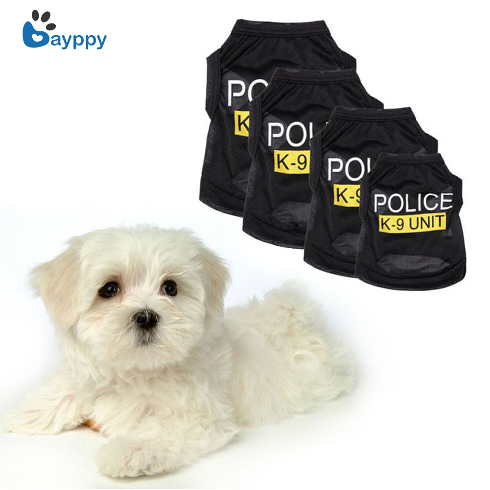Police Suit Cosplay Dog Clothes Pet Puppy Summer Vest Small Cat Dogs Clothing Cotton T-Shirt Apparel Pets Clothes Accessories