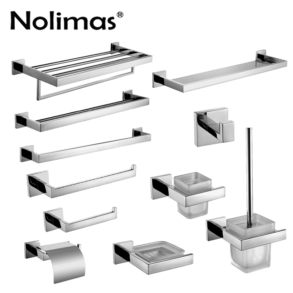 SUS 304 Stainless Steel Bathroom Accessories Set Robe Hook Towel Bar And Mirror Polished Toilet Paper Holder Clothes