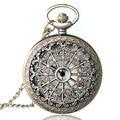 Teia de aranha Oco de Bronze Antigo Do Vintage Colar Pingente de Quartzo Steampunk Pocket Watch Mulheres Homens Melhor Presente