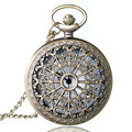 Tela de Araña de bronce Antiguo de La Vendimia Hueco Colgante Collar de Steampunk Cuarzo Reloj de Bolsillo Mujeres Hombres Mejor Regalo
