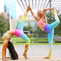 3D Printed Gradient Colorful Fitness Leggins High Waist Bandage Dance Hot Pants Yuga Sporting Leggings Gymnastics Active Pants
