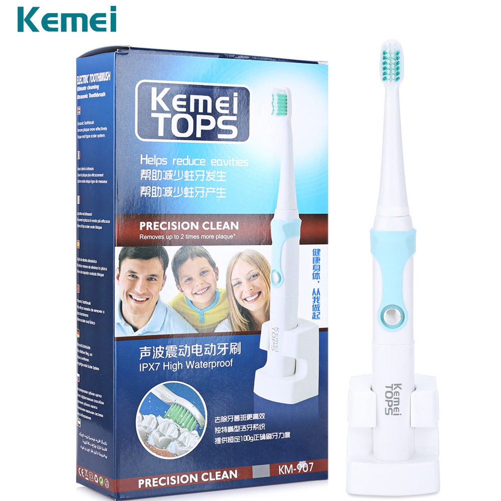 Kemei KM-907 Waterproof Rechargeable Electric Toothbrush With 3 Heads Oral Hygiene Dental Care Sonic Vibration Toothbrush kemei 30000 min ultrasonic waterproof rechargeable electric toothbrush with 3 heads oral hygiene dental care for kids adults