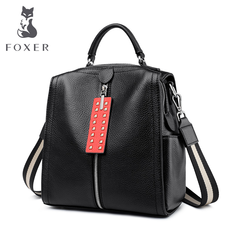 FOXER Brand Cow Leather Teens Student Softback Backpack Female Business Elegant Large Capacity Skin Backpack Vacation