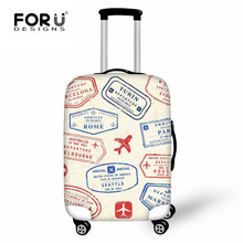 ФОТО FORUDESIGNS Stamp Prints Travel Luggage Cover  18-30 Inch Trolley Case Waterproof Elastic Suitcase Stretch Thick Case Covers