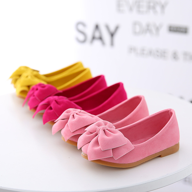 AFDSWG Fashion Bow Princess Girls Shoes Pink Child Moccasins Yellow Shoes For Kids Girls Children Leather Shoes  Kids Stud Shoes