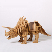 1 Set 30 65inch Wooden Triceratops Dinasaur Side Table Sideboard For Art Home Decoration TM010M