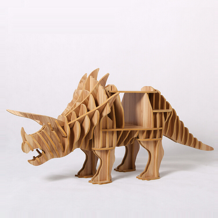 1 set 30*65inch Wooden Triceratops Dinasaur Side Table / Sideboard For Art Home Decoration TM010M