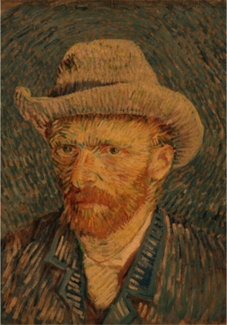 73b72b83895 Impressionist Masterpiece Painting Posters Van gogh Self-Portrait with a Straw  Hat Kraft Wall Stickers Home Cafe Decor 35x47CM