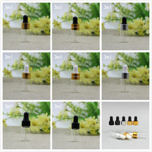 3ML clear glass bottle gold/silver dropper lid white/black bulb for essential oil bottle sample test vial bottle dropper bottle(China)