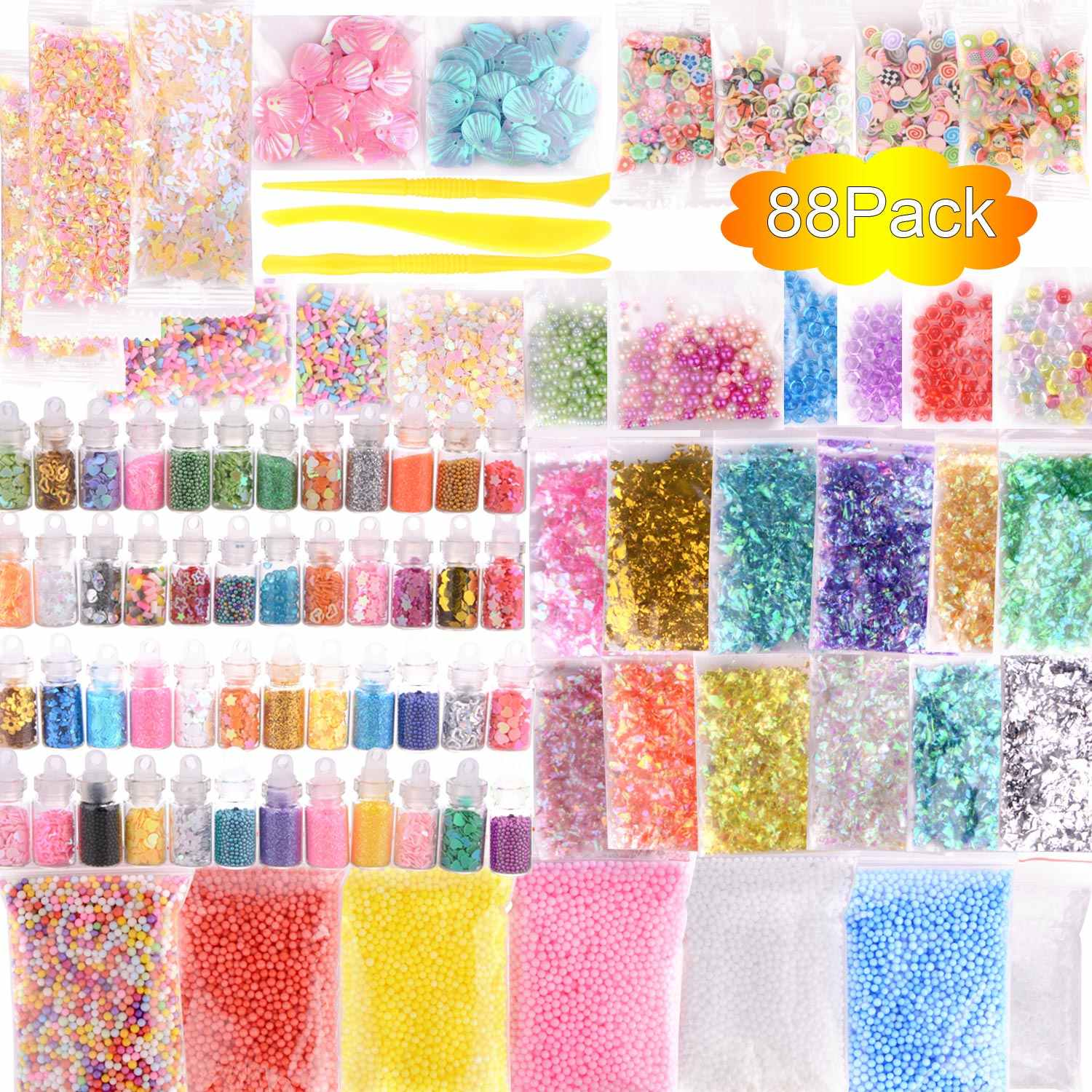 88 Pack Slime Making Kit Styrofoam Foam Balls Beads Charms Glitter Jars Containers Slime for DIY Craft Homemade Party Supply