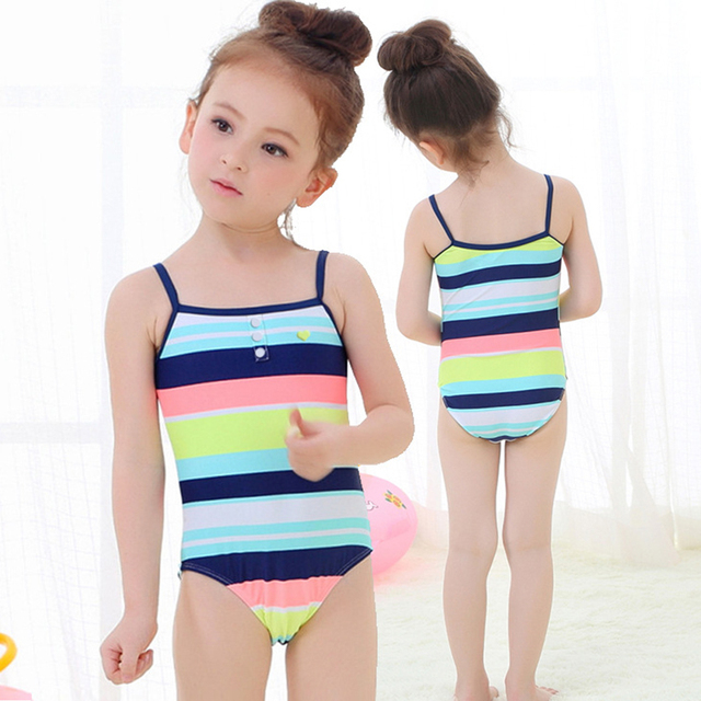 4fdf0f77e7775 2018 Little Girls One-piece Striped Swimsuit Baby Girl Swimwear Toddler  Baby Swimsuits Children Bathing