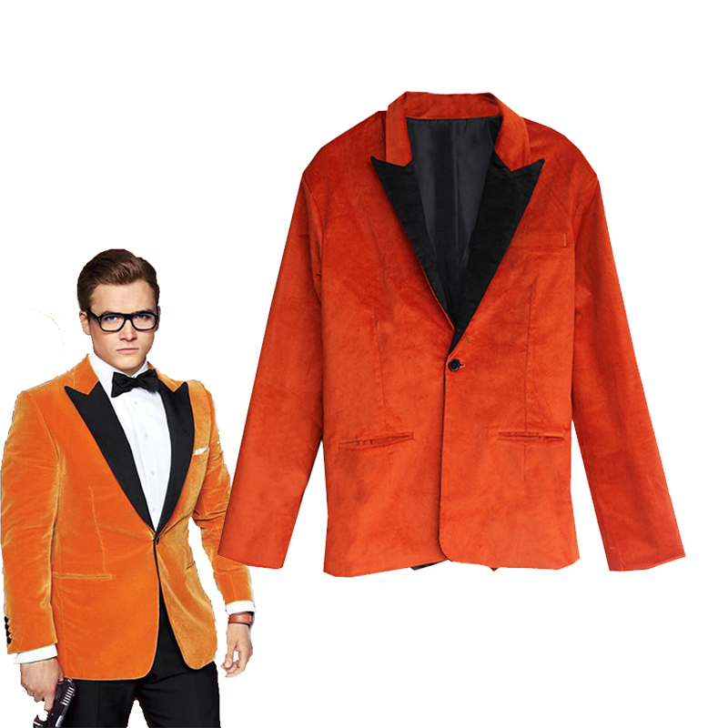 2017 New Movie Kingsman 2 Eggsy Cosplay Costume Halloween Carnival Fashion Unisex Casual Suit High Quality Jacket Custom Made