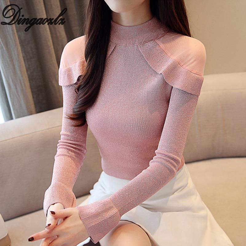 Dingaozlz 2018 Autumn Winter Women shirt New Mesh stitching Knitted Sweater long sleeved Ruffles Pullovers Sweater